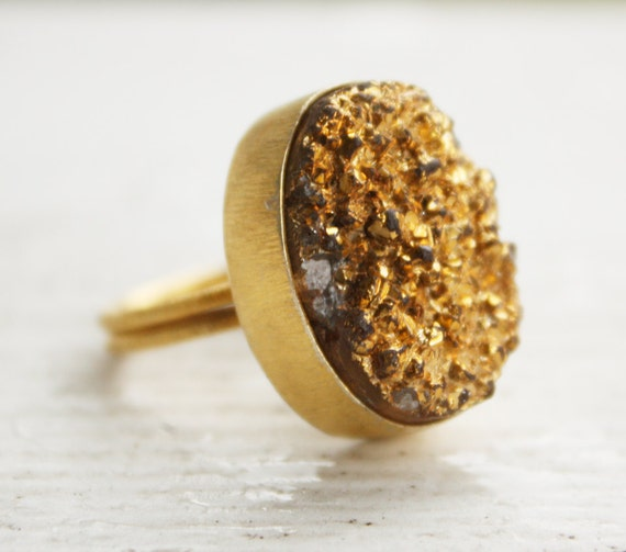 Holiday Glamor Gold Druzy Ring - Geode Ring - Metallic Gold, Look at Me Ring