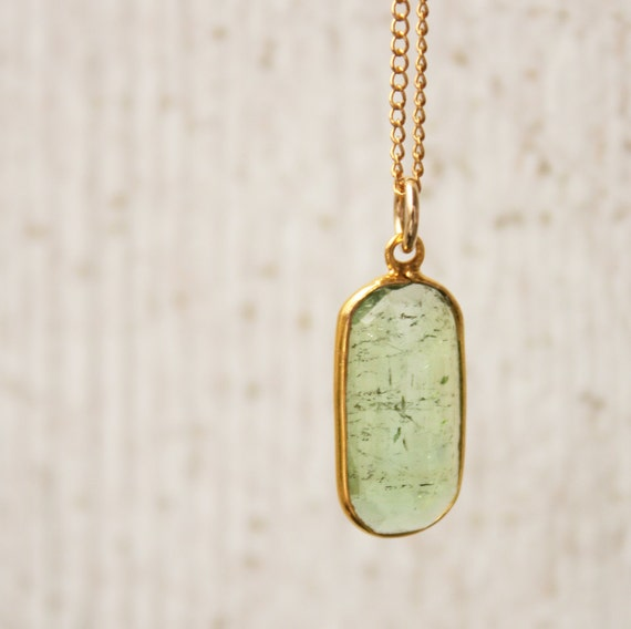 Green Tourmaline Necklace - 14KT Solid Gold
