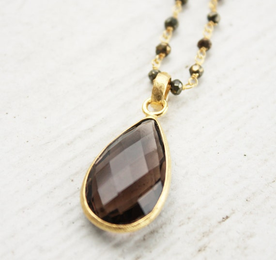 Smokey Quartz Layering Necklace, Pyrite and Ametrine, Long Wire Wrapped Necklace