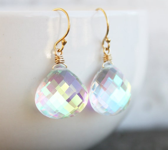 SALE - Mystic Quartz Earrings - 14kt Gold Filled - MARKED DOWN