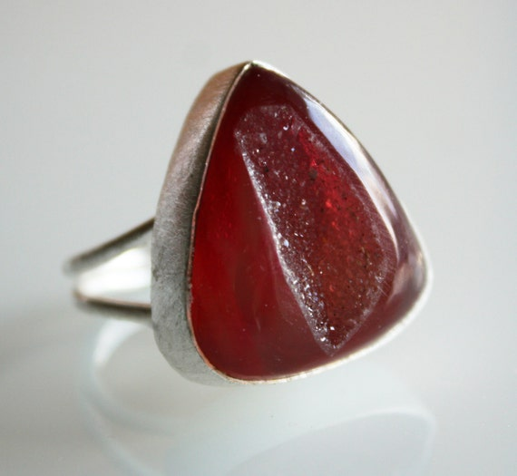 Red Druzy Ring - Adjustable Ring, Silver Geode Ring