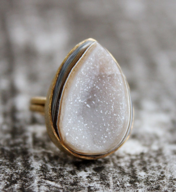 Soft Grey Druzy Ring - Teardrop with a Dip - Adjustable ring, One of a Kind, Creamy White