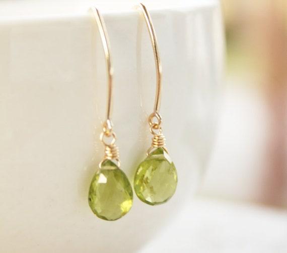 Green Peridot Earrings - 14KT Gold Filled - August Birthstone, Birthstone Earrings