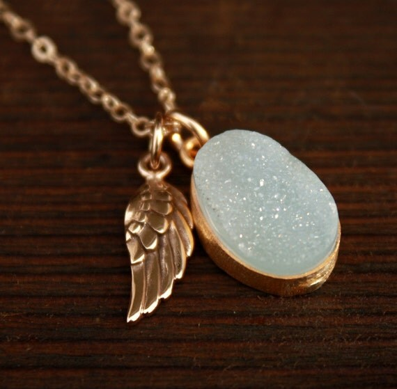 Aqua Druzy Necklace with Wing Charm - 14KT Gold Fill - Dreamy Blue Druzy