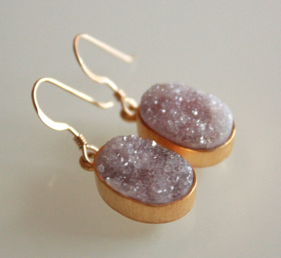 Rough Mauve Agate Druzy Earrings - Very Sparkly - Agate Geode Slice