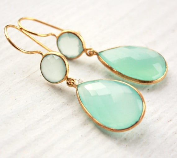 Aqua Chalcedony Teardrop Earrings - Mint Green - Sea Green Chalcedony