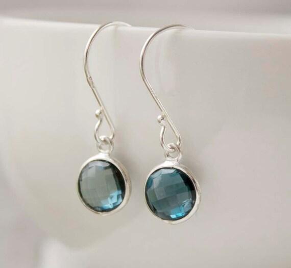 Silver London Blue Topaz Earrings - Round Cut - Simple Drops
