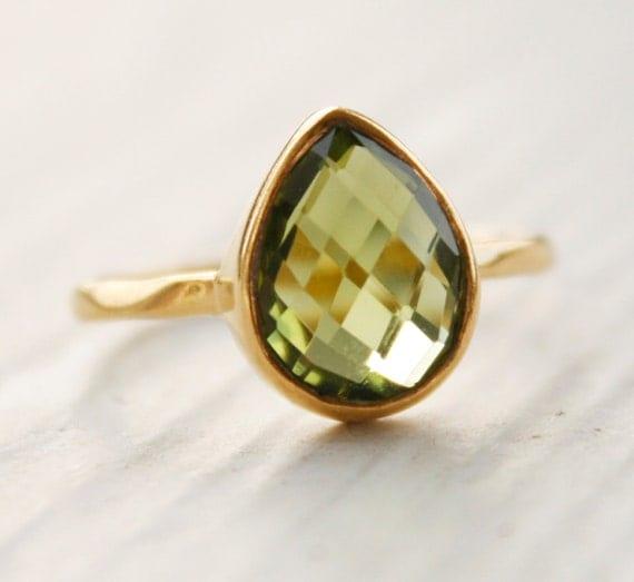 Green Peridot Ring - August Birthstone Ring, August Birthdays - Vermeil Gold, Size 5 Ring