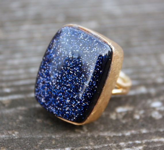 Gold Blue Sunstone Ring - Wide Rectangle - Galaxy Shimmers, Midnight Blue