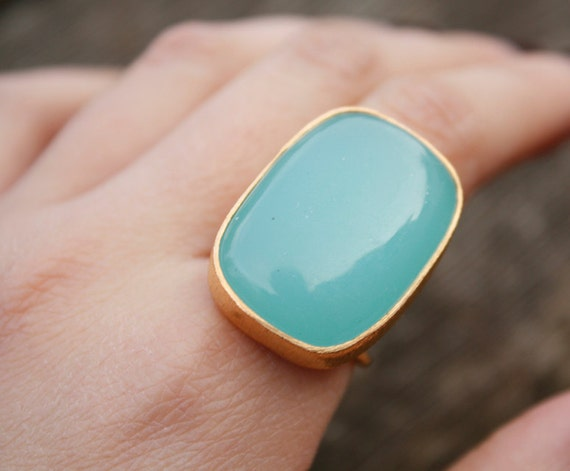 SALE Large Aqua Blue Chalcedony Ring - Rectangle - Adjustable Ring, Marked Down