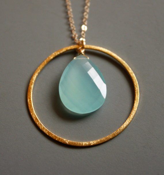 Gold Aqua Chalcedony Necklace - Sea Foam Green - Mint Green, 14KT Gold Fill