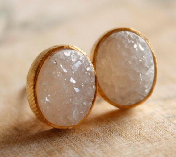 Gold Oval Druzy Stud Earrings - Post Earrings - Geode Earrings, AAA Quality
