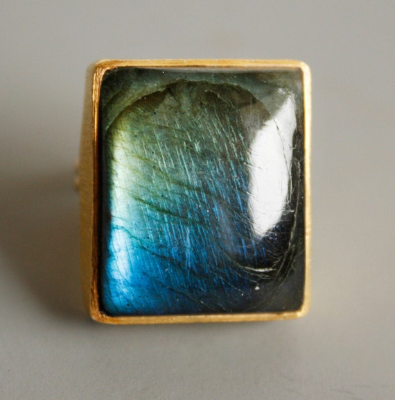 RESERVED FOR HEATHER: Gold Blue Labradorite Ring - Rectangular Cut - Aurora Borealis, The Northern Lights