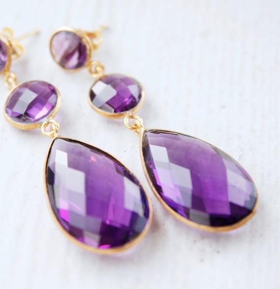 Purple Amethyst Quartz Earrings - Teardrop Earrings - Post Setting, Spring Purple