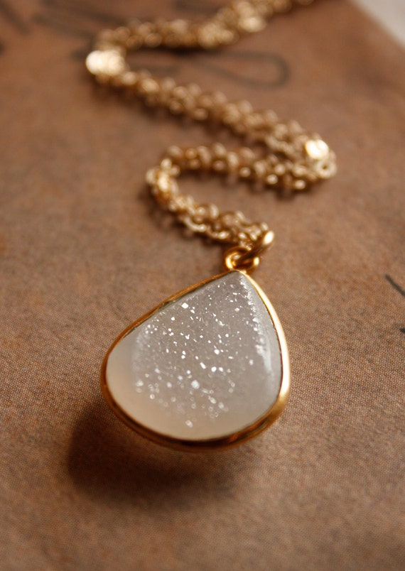 White Druzy Necklace - Translucent Agate Druzy, Natural Geode - 14KT Gold Fill