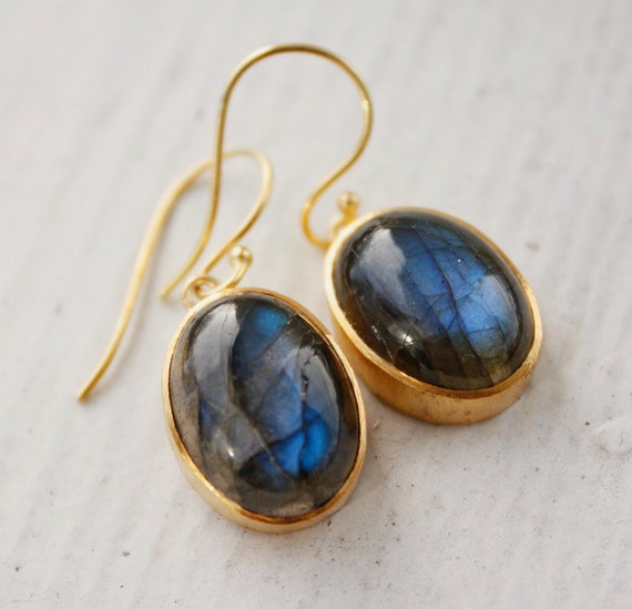 Blue Labradorite Earrings - Oval Shape - Natural Labradorite, Mother's Day Jewelry, For Mom