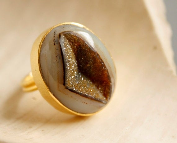 Grey and Olive Green Druzy - Unusual Stone - Statement Ring, Bold Stone Ring