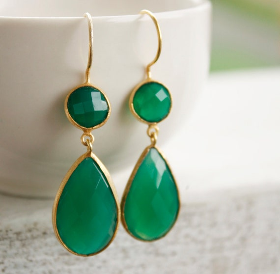 Gold Green Onyx Earrings - Emerald Green - Marked Down, Special