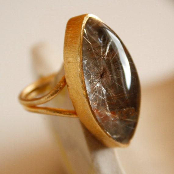 Golden Rutile Quartz Ring - Eye Shape, Marquise Shape - Bold Stone Ring, Rutilated Quartz