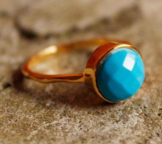 Blue Turquoise Ring - Vermeil Gold - Stacking Ring, Something Blue