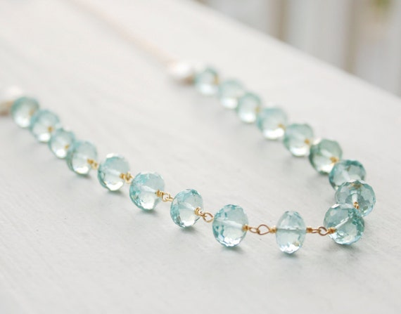 Blue Aqua Quartz and Freshwater Pearl Necklace - 14KT gold Fill - Oceanic Shades, Summer Breeze