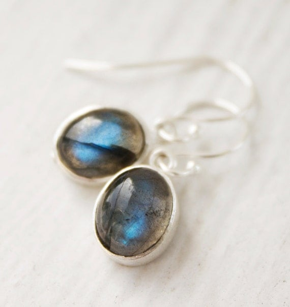 Blue Labradorite Earrings - Oval Shape Drops - Silver Filled, The Northern Lights