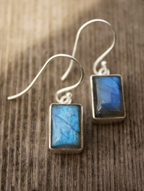 Silver Labradorite Earrings - Blue Labradorite - Silver Filled, Rectangular Drops