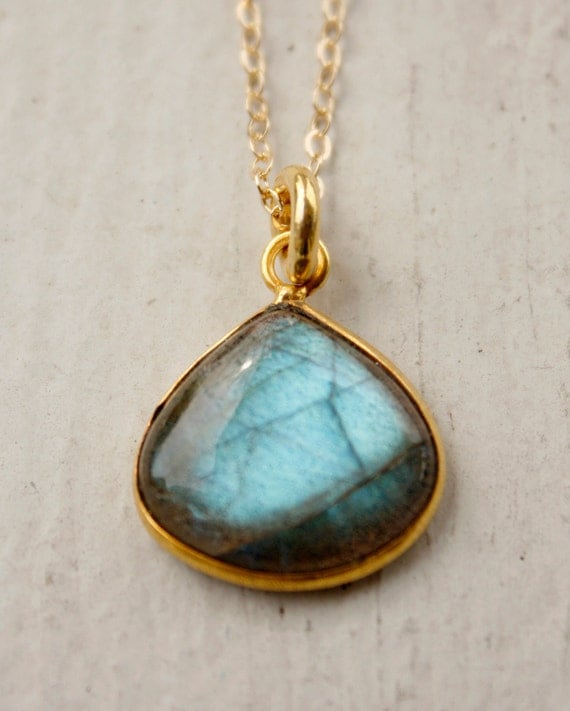 Blue and Green Labradorite Necklace - Wide Teardrop Pendant - Gold Filled