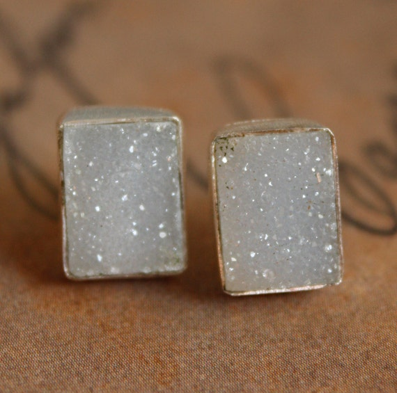 Soft Grey Agate Druzy Studs - Rectangular Studs - Silver Filled, Post Earrings