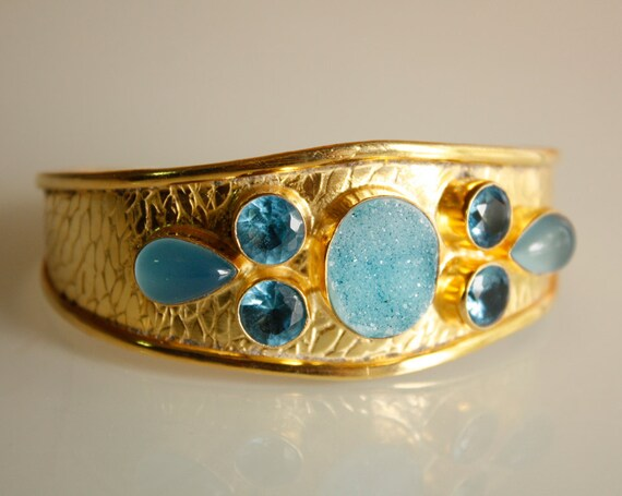 SALE - Aqua Blue Druzy Cuff - Agate Druzy, Blue quartz, Blue Chalcedony - MARKED DOWN