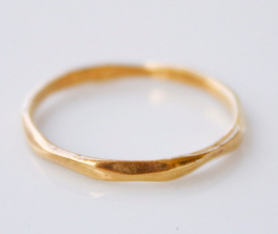 Gold Band Ring - Hammered Band Ring - Stacking Band, Stackable Ring, Simple