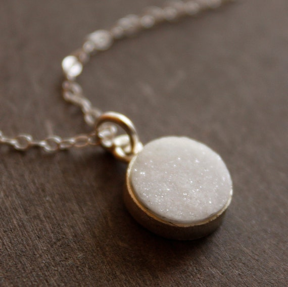 Silver White Druzy Necklace - Bright White - Simple Geode Necklace