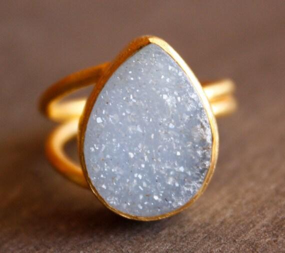 Ice Blue Agate Druzy Ring - Teardrop Ring - Baby Blue Stone, Glacier Ice