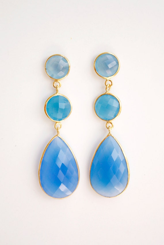 Dreamy Blue Chalcedony Drop Earrings - Something Blue - Bridal Earrings, Summer Weddings