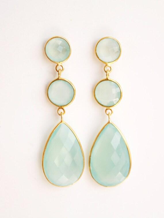 Glowing Aqua Blue Chalcedony Drop Earrings - Mint Green, Sea Foam Green - Shades of Summer