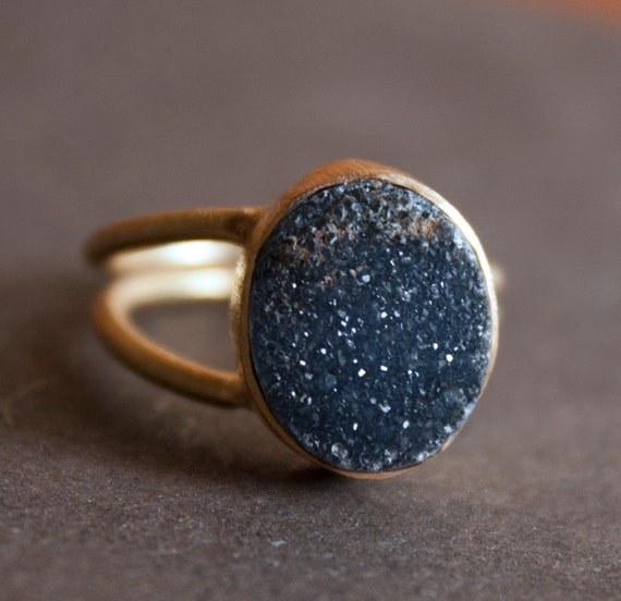 Black Druzy Ring - Adjustable Ring, Black Geode Ring, Extra Sparkly - Neutral Tones