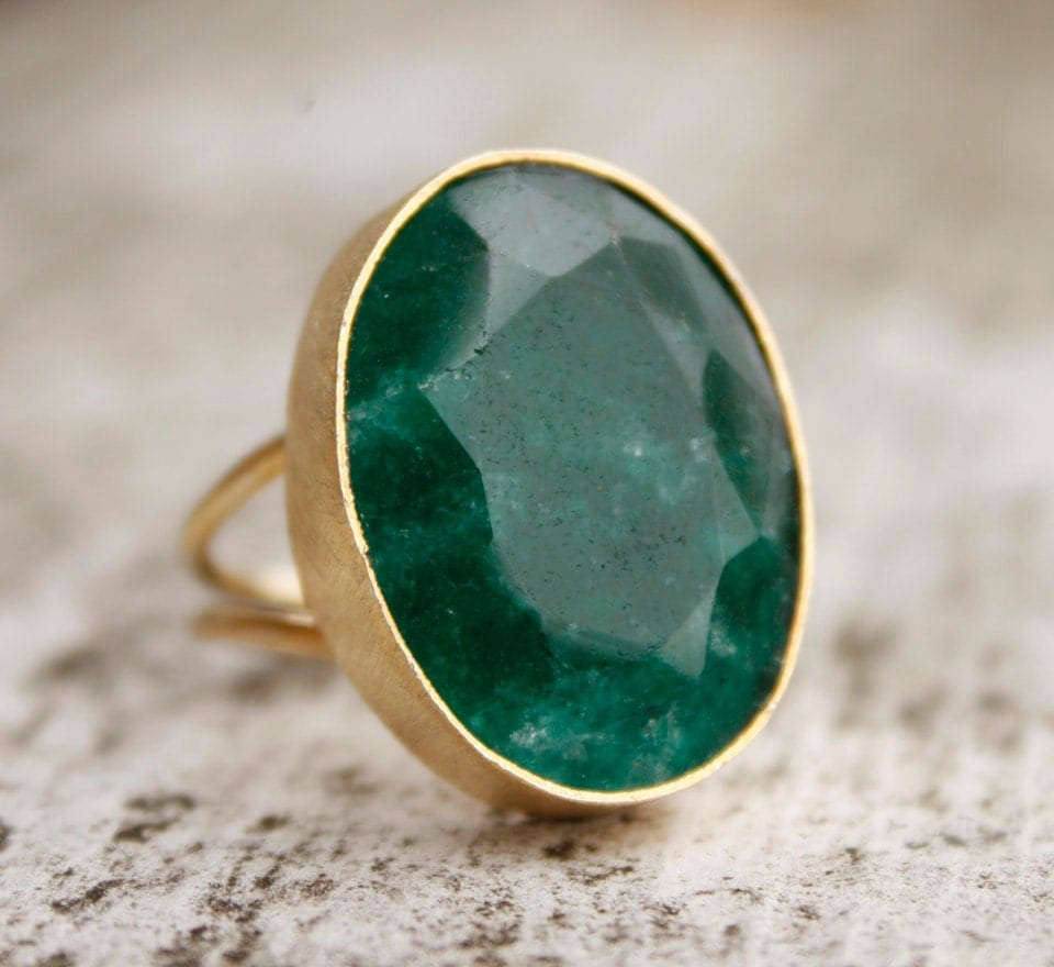 Green Emerald Ring Green Stone Ring May Birthstone Ring