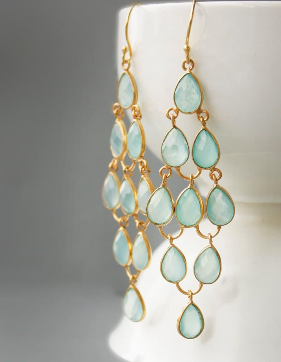 Aqua Chalcedony Chandelier Earrings Sea Foam Green Red – Aqua Chandelier Earrings