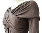Tricot brown shirt with wide wrap strip