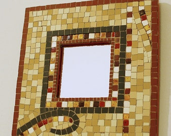 handmade mosaic mirror with ceramic tiles