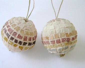 2 Mosaic Handmade Ornament Balls - Christmas Tree and Home decor -  marble tiles