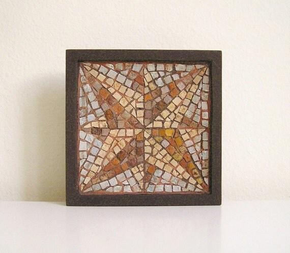 handmade mosaic art with marble tiles - home decor - nautical star
