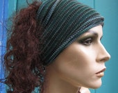 3 eco Headwraps Forest Woodland Green hand dyed Set Midi size