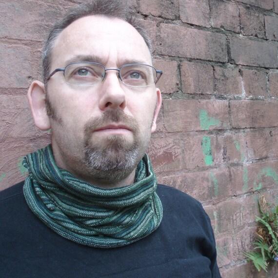 Mens Neckwarmer Cowl Cyclewrap Forest Green Indigo Stripe Cotton knit