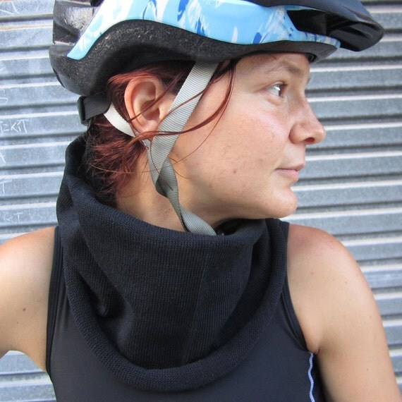 Cycle Scarf Cowl neck wrap Jet Black set for Women or Men