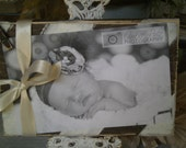 Adorable Wood Block Distressed Frame Cream and Chocolate Brown Striped and Cream Ribbon