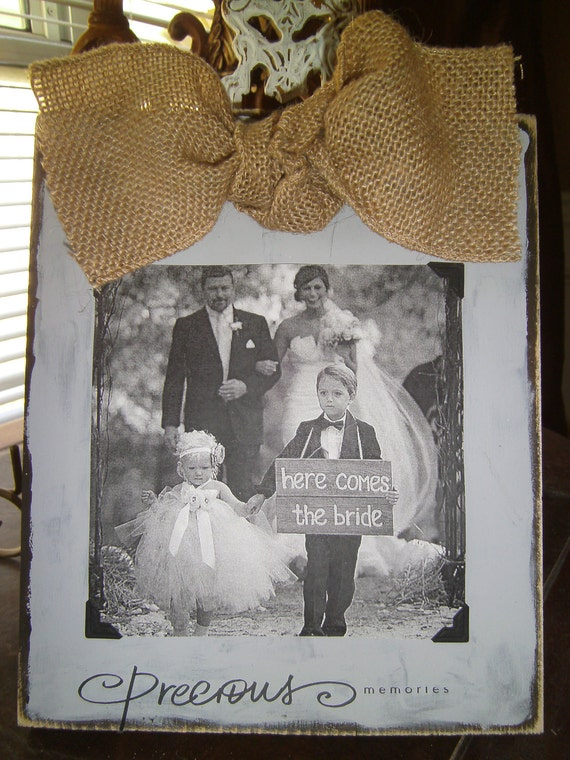Gray Picture Frame with Natural Burlap Bow and Quote Precious Memories Perfect for Rustic Vintage Wedding Photo