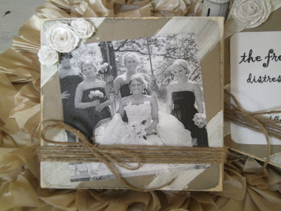 White and Khaki Striped Distressed Wood Board Frame with White Paper Roses and Twine Great Bridesmaids Gifts