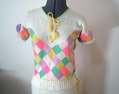 1930s sweater set - hand knitted top, skirt and matching hat - S-M - wonderful