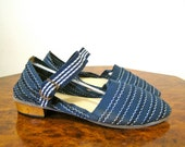 RESERVED 1930s-40s summer shoes - beach shoes - in dark navy cotton and leather - US 6.5, 37